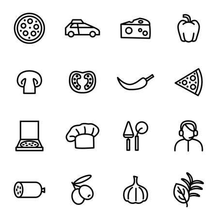 Pizzeria Sign Black Thin Line Icon Set. Vector Ilustração