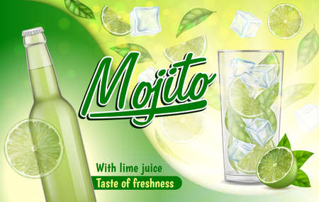 Realistic Detailed 3d Mojito Ads Banner Concept Poster Card. Vector