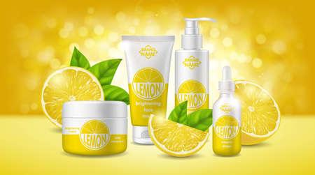Realistic Detailed 3d Lemon Skin Care Cosmetics Set. Vector