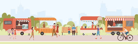 Cartoon Color Characters People and Street Food Festival Concept. Vector Ilustração