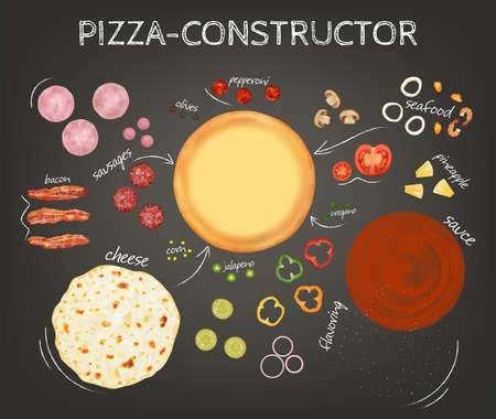 Realistic Detailed 3d Pizza Constructor Concept Poster Card. Vector