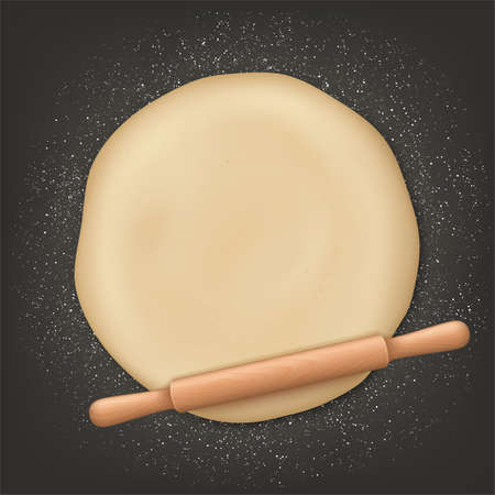 Realistic Detailed 3d Rolling Pin and Kneading Set. Vector Vectores