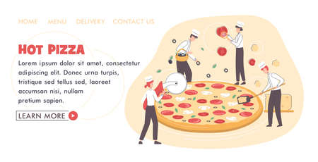 Pizza Making Concept Card Landing Web Page Template. Vector