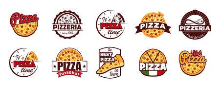 Cartoon Color Pizzeria Label Badge Sign Set Concept Flat Design Style. Vector Banco de Imagens - 154722643
