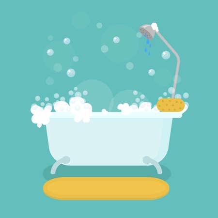 Cartoon Color Bath and Bathroom Interior Inside Concept. Vector Ilustração