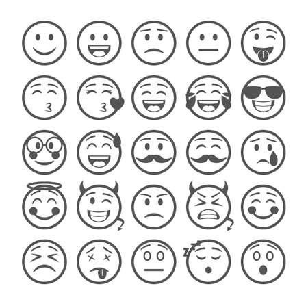 Emoticons Sign Black Thin Line Icon Set. Vector