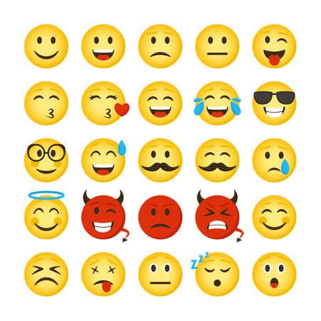 Cartoon Color Emoticons Sign Icon Set. Vector Vektorgrafik