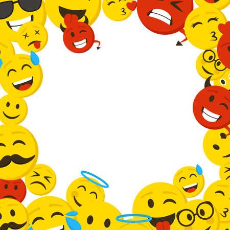 Cartoon Color Emoticons Frame Banner Card. Vector