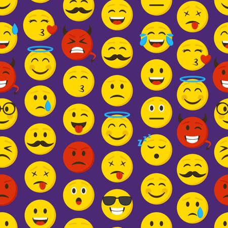 Cartoon Color Emoticons Sign Seamless Pattern Background. Vector Banco de Imagens - 154924853
