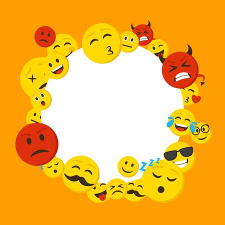 Cartoon Color Emoticons Concept Round Design Template . Vector Banco de Imagens - 154898098