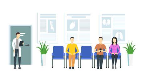 Cartoon Queue Hospital Inside Interior with People. Vector Ilustração