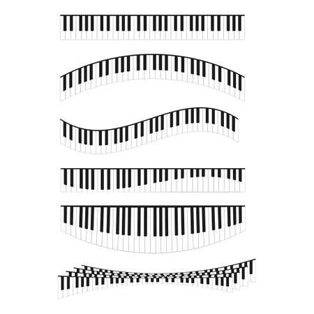 Piano Keyboards Curved Line Different Types Shape Set. Vector Ilustração
