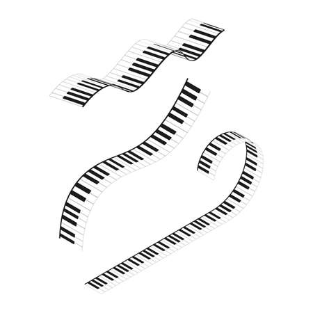 Piano Keyboards Wavy Line Different Types Shape Set. Vector Banco de Imagens - 154924868