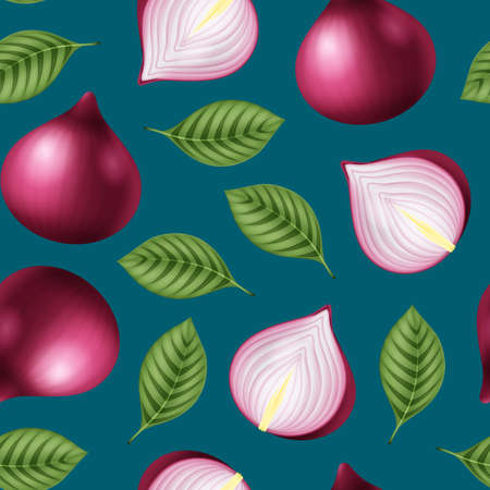 Realistic 3d Detailed Red Onion Seamless Pattern Background. Vector