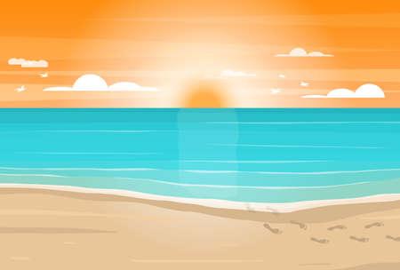 Cartoon Sandy Beach, Sea and Sky Card. Vector