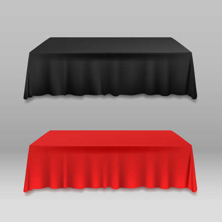 Realistic Detailed 3d Color Blank Table with Tablecloth Template Mockup. Vector Ilustração