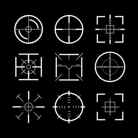 Target Destination Signs White Thin Line Icon Set. Vector Banco de Imagens - 154897362