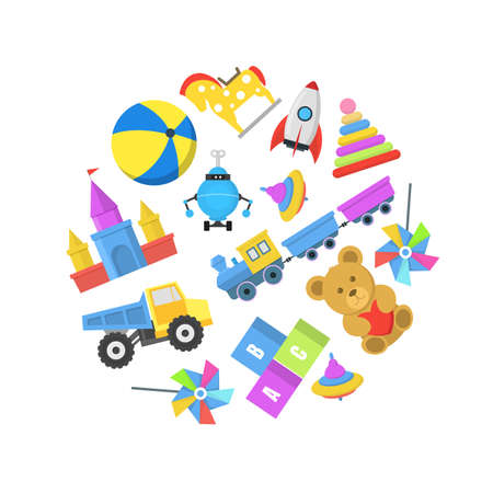 Cartoon Color Toys Round Design Template Banner. Vector
