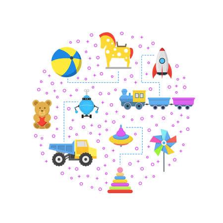Cartoon Color Toys Round Design Template. Vector