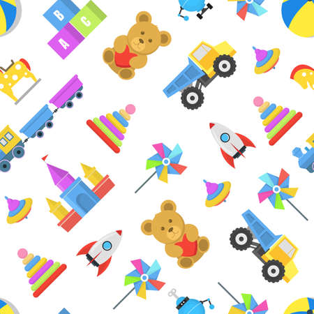 Cartoon Color Toys Seamless Pattern Background. Vector Ilustração