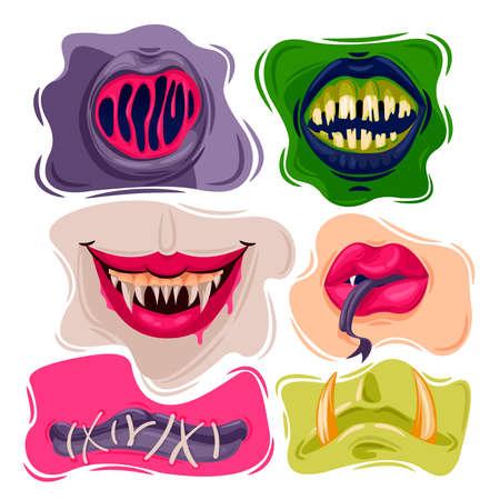 Cartoon Color Creepy Mouths Icons Set. Vector