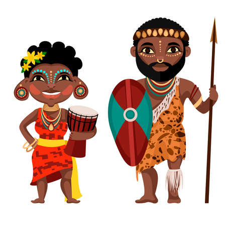 Cartoon Color Characters People African Concept. Vector