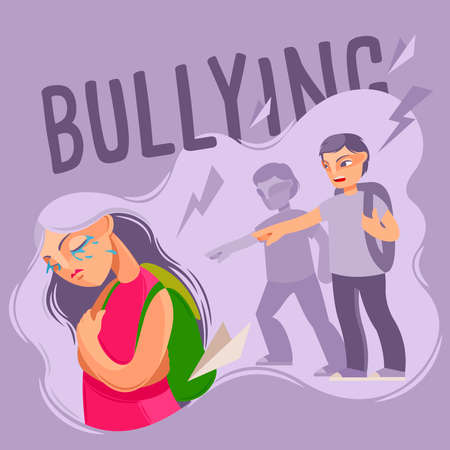 Cartoon Color Characters People and Bullying Concept. Vector