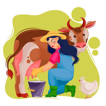 Cartoon Color Character Person Female and Agricultural Workers Concept. Vector
