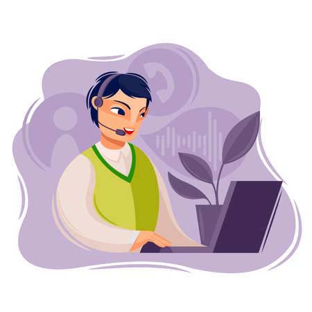 Cartoon Color Character Person Male Call Center Operator Concept. Vector Ilustração