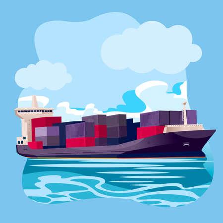 Cartoon Color Cargo Ship in Sea Port Landscape Scene Concept. Vector