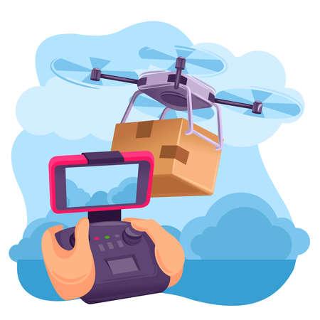 Cartoon Color Human Hand and Drone Transportation Concept. Vector Ilustração