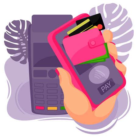 Cartoon Color Human Hand and Card Pay Mobile Concept. Vector Ilustração