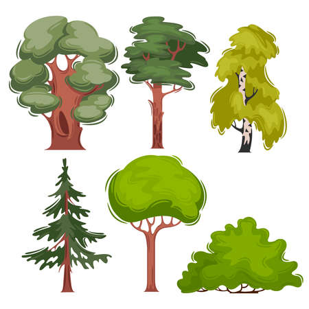 Cartoon Color Different Trees Icons Set. Vector Banco de Imagens - 155210562