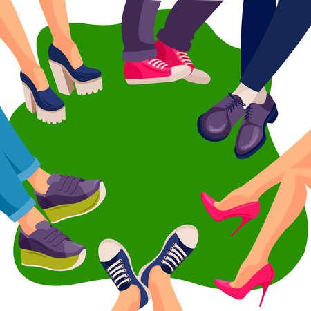 Cartoon Color Characters People Shoes on Legs Concept. Vector Ilustração