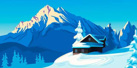 Cartoon Color Winter Mountain Landscape Scene Concept. Vector