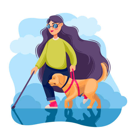 Cartoon Color Character Person Blind Girl and Guide Dog Concept. Vector