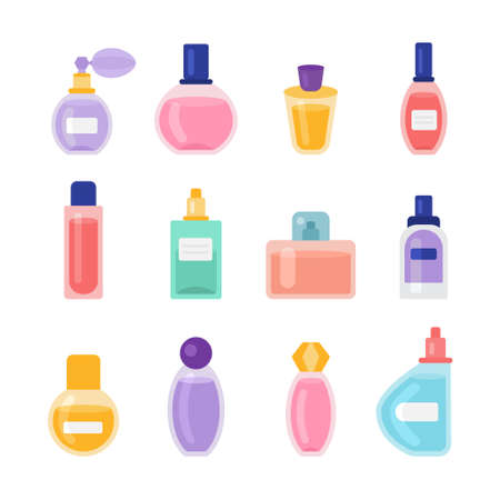 Cartoon Color Perfume Bottles Icons Set. Vector Banco de Imagens - 155210165