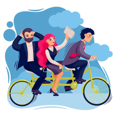 Cartoon Color Characters People Business Person Tandem Bike Concept. Vector