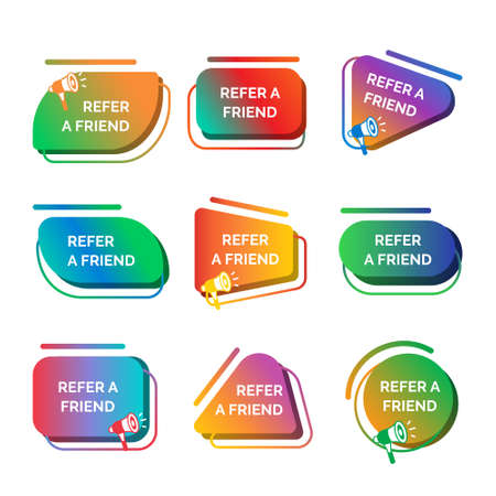Color Refer a Friend Label Badge Sign Set Concept. Vector Banco de Imagens - 155209813