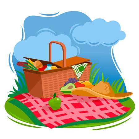 Cartoon Color Summer Picnic Basket Concept. Vector Ilustração