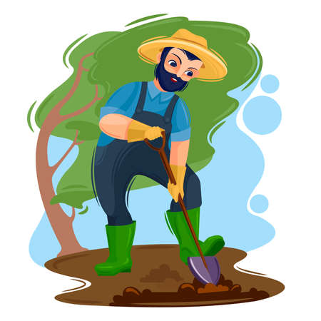 Cartoon Color Character Person Male and Agricultural Workers Concept. Vector