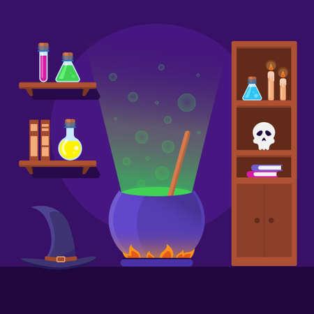 Cartoon Color Alchemist Interior Inside Concept. Vector