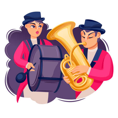 Cartoon Color Characters People and Band Parade Concept. Vector