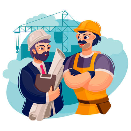 Cartoon Color Character Person Male Builders Engineers Concept. Vector