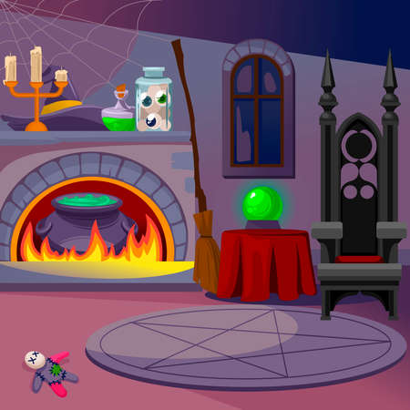 Cartoon Color Witch Room Interior Inside Concept. Vector