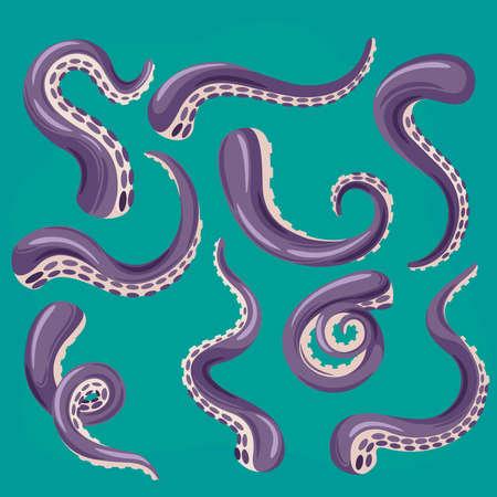 Cartoon Color Tentacles Octopus Icons Set. Vector Ilustração
