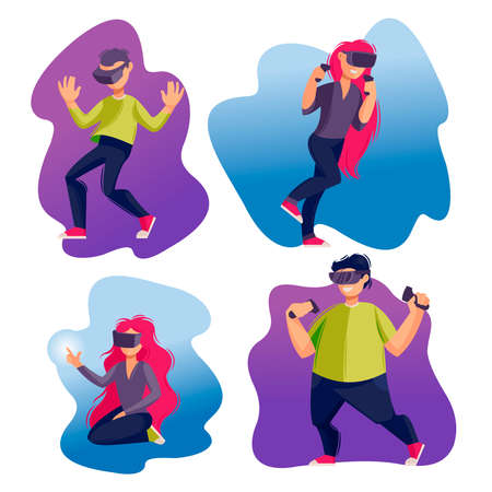 Cartoon Color Characters People and Vrtual Reality Concept. Vector Banco de Imagens - 155209579