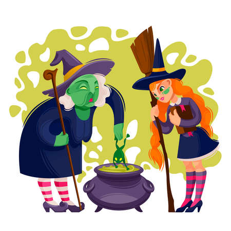 Cartoon Color Character Person Female Witches Concept. Vector
