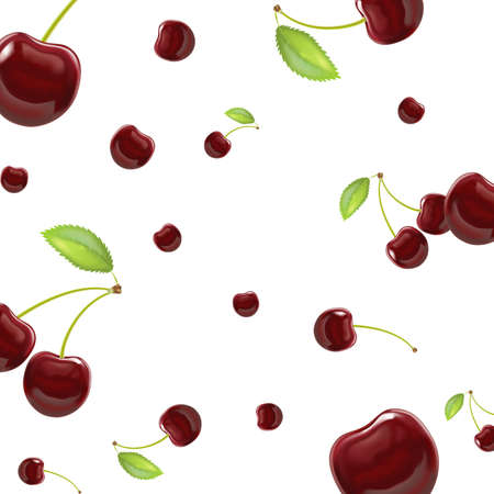 Realistic Detailed 3d Red Cherry Berries Seamless Pattern Background. Vector Ilustração