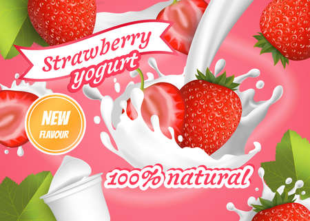 Realistic Detailed 3d Red Strawberry Yogurt Ads Banner Concept Poster Card. Vector